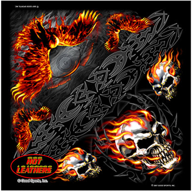 Flame Skull & Eagle/Harley Engine Bandana, Clothing Accessories - Fat Skeleton UK