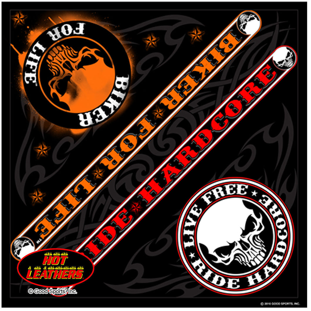Biker For Life Ride Hard Core Skull Bandana, Clothing Accessories - Fat Skeleton UK