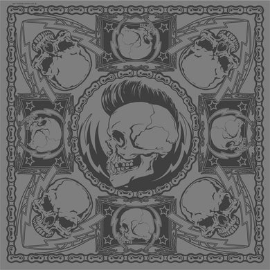 Grey Punk Skulls Bandana, Clothing Accessories - Fat Skeleton UK