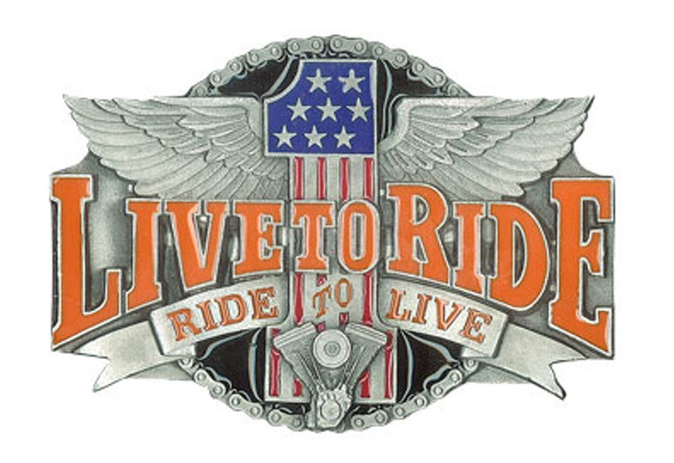 Live To Ride USA 1 Belt Buckle, Clothing Accessories - Fat Skeleton UK
