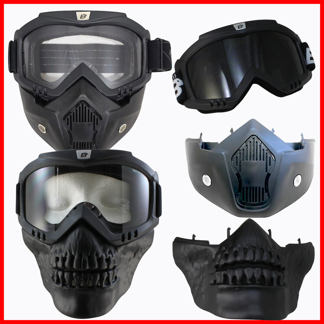 Skull Jaw Insert plus Urban Mask Jawline & Goggles for Open Face Helmet