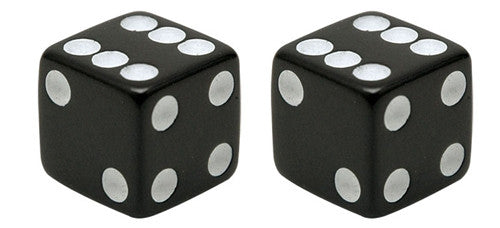 Black Lucky Dice Valve Caps, Motorcycle Accessories - Fat Skeleton UK