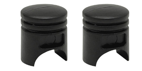 Black Pistons Valve Caps, Motorcycle Accessories - Fat Skeleton UK