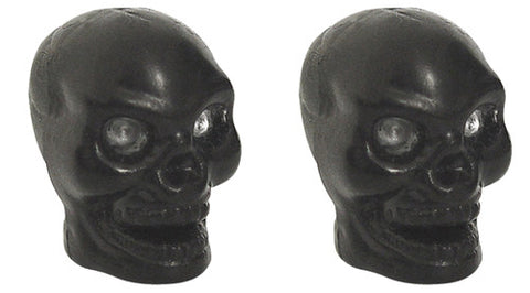 Black Skull Valve Caps, Motorcycle Accessories - Fat Skeleton UK