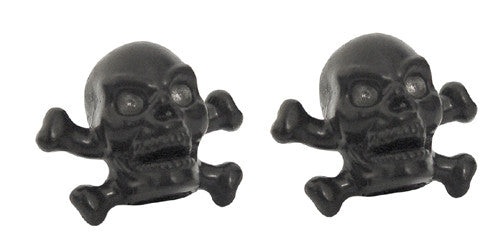 Black Skull & Bones Valve Caps, Motorcycle Accessories - Fat Skeleton UK