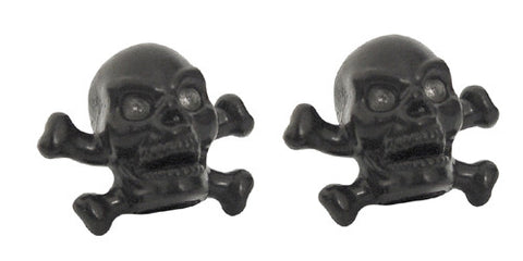 Black Skull & Bones Valve Caps, Cruiser Accessories - Fat Skeleton UK