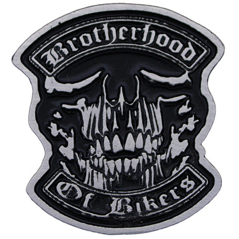 Brotherhood of Bikers Pewter Pin Badge, Lifestyle Accessories - Fat Skeleton UK