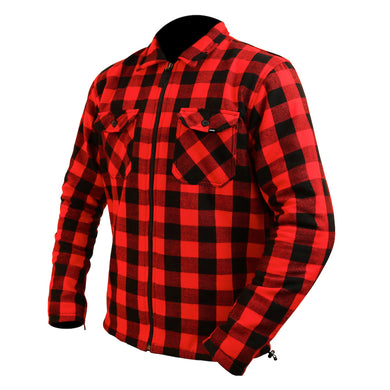 Red Check Riding Shirt with Kevlar lining + Elbow & Shoulder armour by ARMR, Kevlar - Fat Skeleton UK