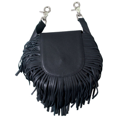 Ladies Leather Waist Clip Bag with Fringes, Womens Clothing - Fat Skeleton UK