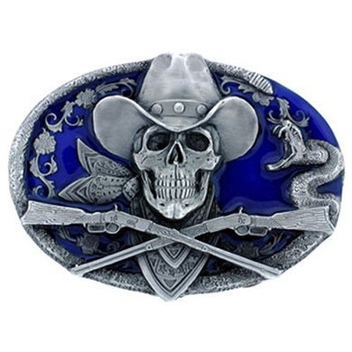 Cowboy Skull & Guns Belt Buckle, Clothing Accessories - Fat Skeleton UK