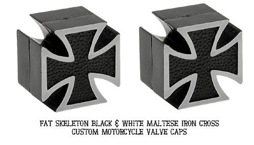 Custom Iron Cross Valve Caps, Motorcycle Accessories - Fat Skeleton UK