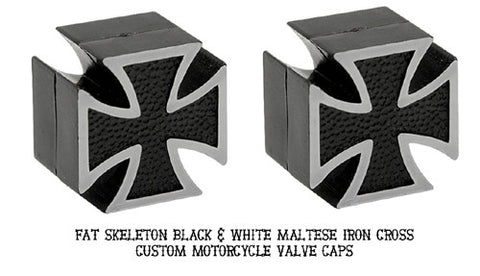 Custom Iron Cross Valve Caps, Cruiser Accessories - Fat Skeleton UK