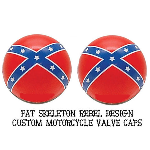 Custom Southern Rebel Valve Caps, Motorcycle Accessories - Fat Skeleton UK