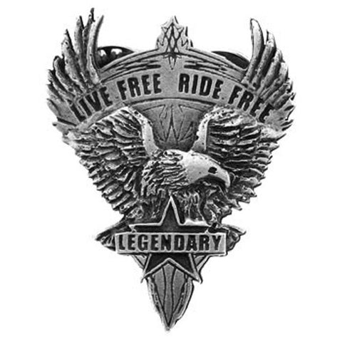 Eagle Live Free Ride Free Pewter badge, Accessories - Fat Skeleton UK