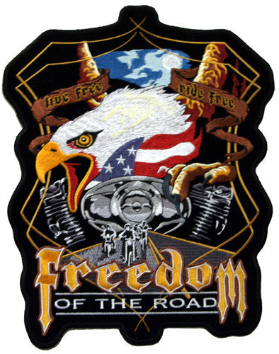 Eagle & Harley Engine Freedom of the Road Large Patch, Lifestyle Accessories - Fat Skeleton UK