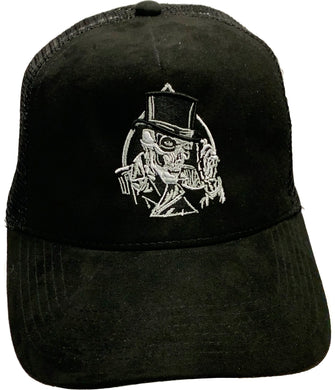 Fat Skeleton ™ Top Hat & Skull Embroidered Trucker Cap