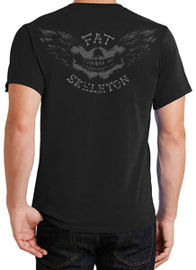 Fat Skeleton Top Hat Skull logo wing T Shirt