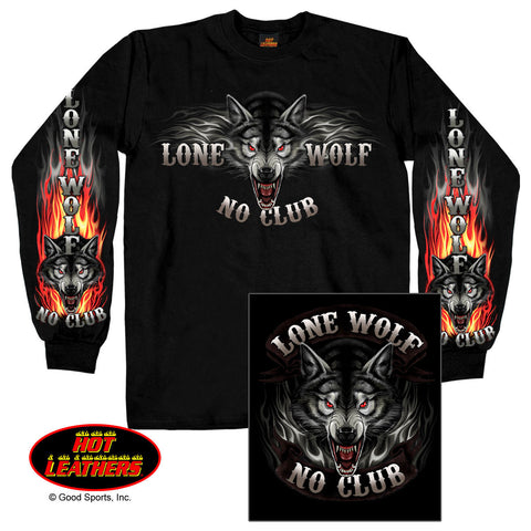 Hot Leathers Lone Wolf No Club Long Sleeve T Shirt Top, Mens Clothing - Fat Skeleton UK