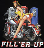Fill 'Er Up Garage Pin Up Classic Harley Design T Shirt, Mens Clothing - Fat Skeleton UK