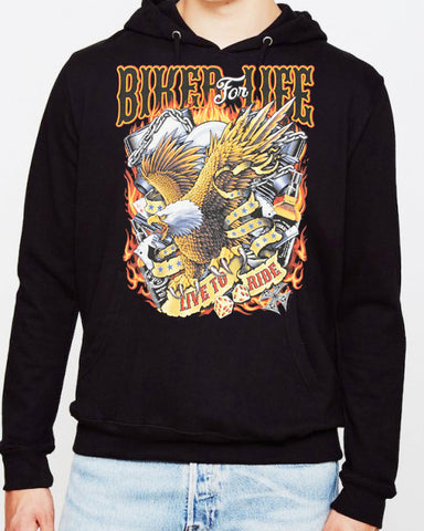 Introductory Offer Biker For Life Eagle HOODIE