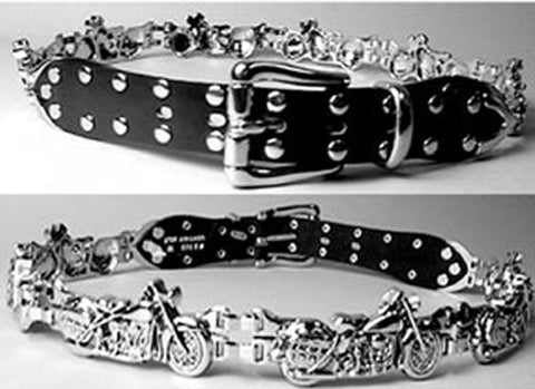 Harley Cruiser Design Chrome & Leather Motorcycle Belt, Clothing Accessories - Fat Skeleton UK