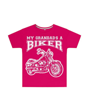 My Grandad's a Biker Kids T Shirt in Dark Pink, Baby & Kids - Fat Skeleton UK