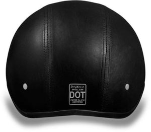 Daytona Helmets Leather Covered Skull Cap DOT Helmet & Peak, Open Face Helmets - Fat Skeleton UK