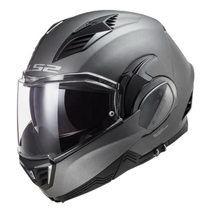 Solid Matt Titanium LS2 FF900 Valiant 2 Modular Flip Over Flip Front Full Face / Open Face Motorcycle Helmet PLUS FREEBIE BUNDLE