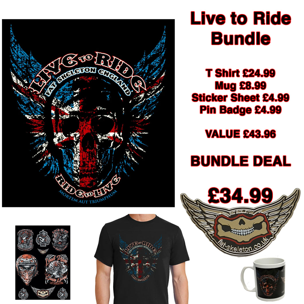 Fat Skeleton Live to Ride Union Jack Bundle