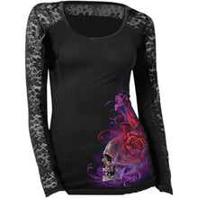Ladies Long Sleeve Top Purple Haze Skull  by Lethal Angel, Womens Clothing - Fat Skeleton UK