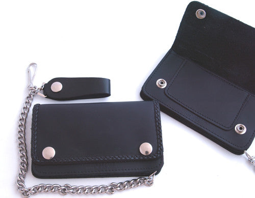Large Leather Braid Detail Wallet & Chain, Accessories - Fat Skeleton UK