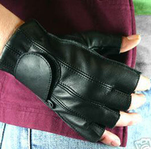 Leather Fingerless Gloves with Gel Palm, Clothing Accessories - Fat Skeleton UK