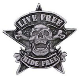 Live Free Ride Free Skull Pewter Pin badge, Lifestyle Accessories - Fat Skeleton UK