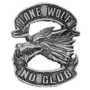 Lone Wolf No Club Pin Badge, Accessories - Fat Skeleton UK