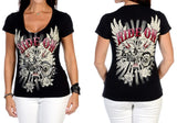 Liberty Wear Ladies Short Sleeve Top, Womens Clothing - Fat Skeleton UK
