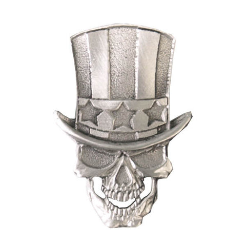 Uncle Sam Skull Pewter Pin Badge, Accessories - Fat Skeleton UK