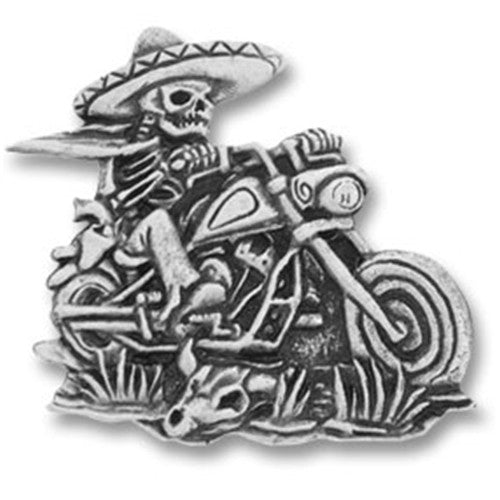 Mexican Skeleton Rider Pewter Pin Badge, Lifestyle Accessories - Fat Skeleton UK