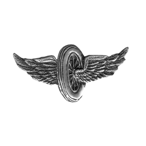 Classic Flying Wheel Pewter Pin Badge, Lifestyle Accessories - Fat Skeleton UK
