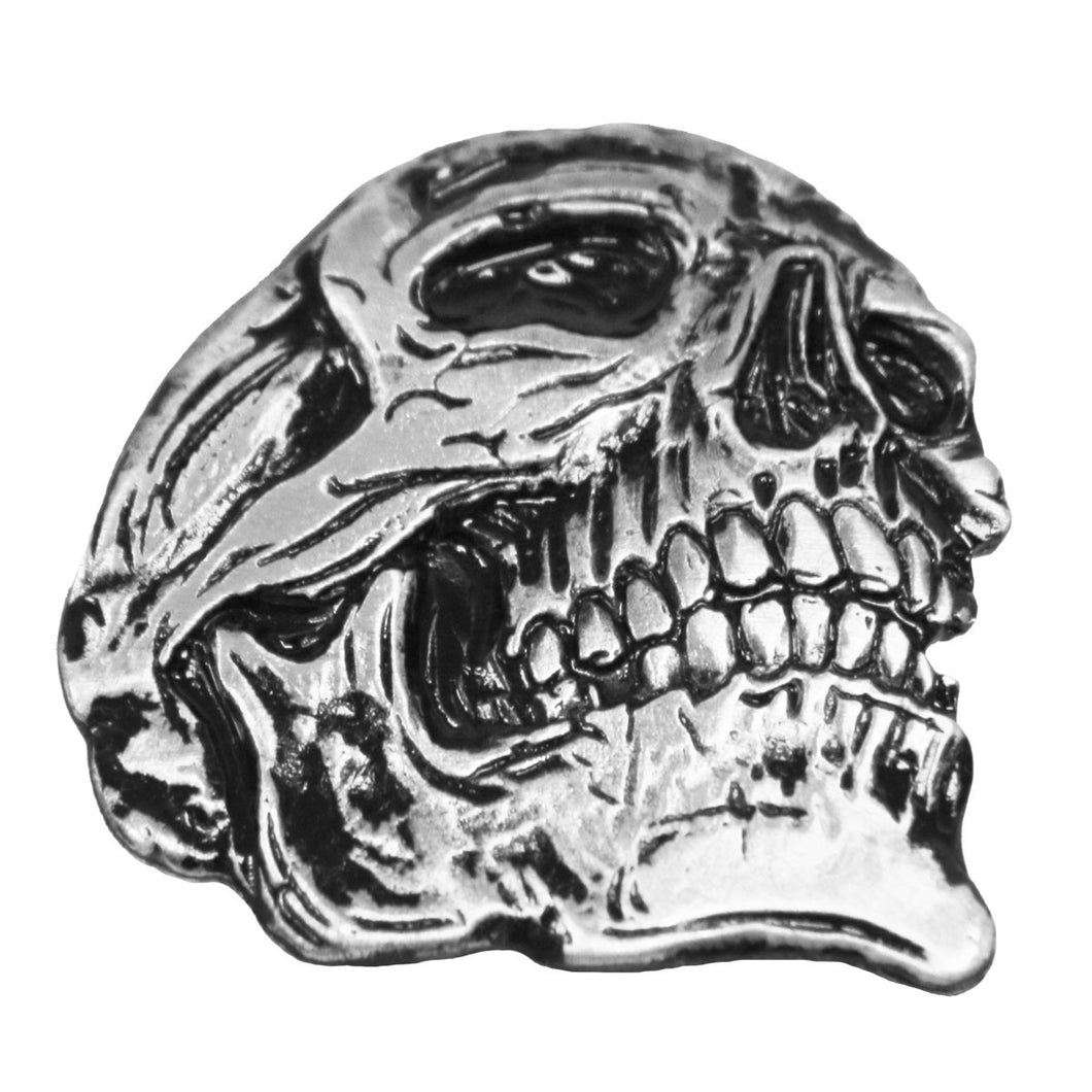 Large 3D Skull Pewter Pin Badge, Lifestyle Accessories - Fat Skeleton UK