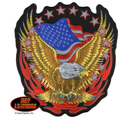 Large American Eagle & Flag Sew on Patch