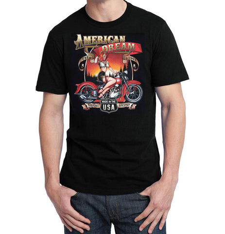 American Dream 40's Harley Glamour T Shirt, Mens Clothing - Fat Skeleton UK