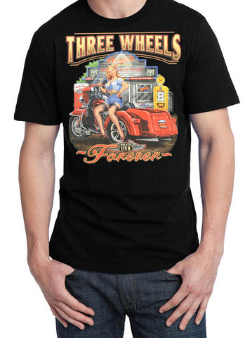 3 Wheels Forever T Shirt, Mens Clothing - Fat Skeleton UK