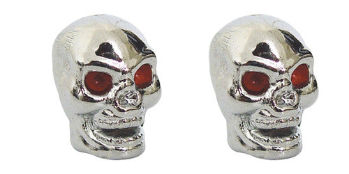 Red Eye Skull Valve Caps, Motorcycle Accessories - Fat Skeleton UK