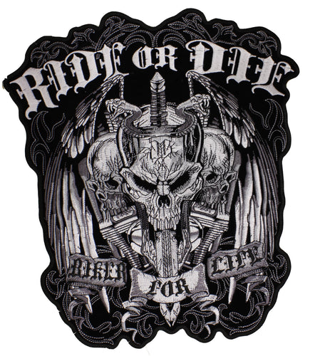 Ride or Die-Biker for Life Sew on Patch, Lifestyle Accessories - Fat Skeleton UK