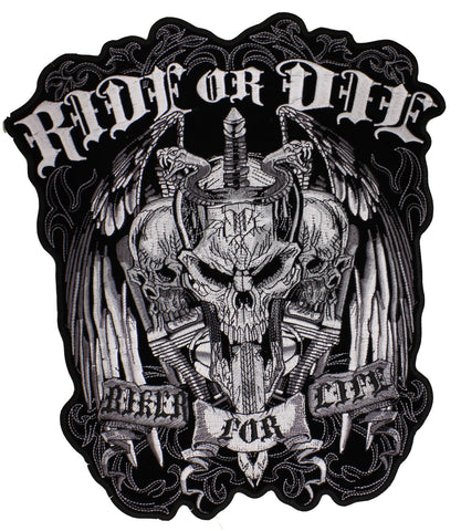 Ride or Die-Biker for Life Sew on Patch, Accessories - Fat Skeleton UK