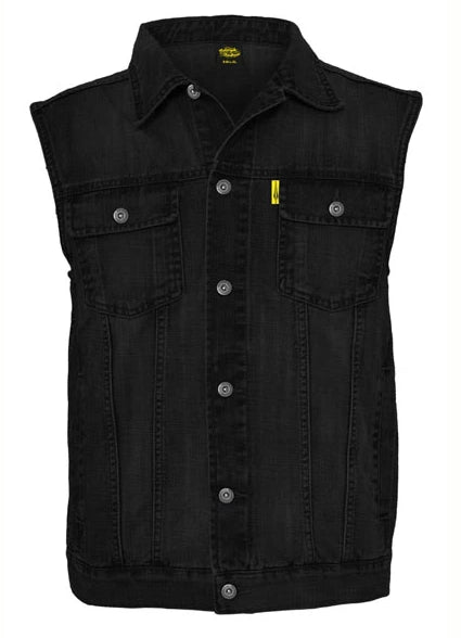 Black Denim Club Style Cut / Waistcoat, Leather Clothing - Fat Skeleton UK