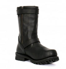 "Genuine Leather  10"" Tall Round Toe Engineer Boot with zips"