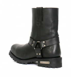 Genuine Leather Short Harness Cruiser Boots with side zip