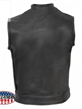 American Made Outlaw Style Leather Waistcoat / Cut