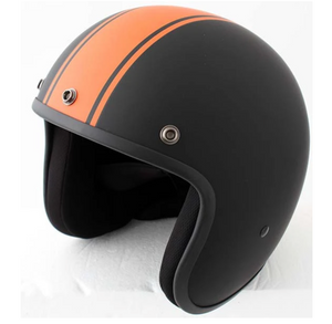 Matt Black with Orange Stripe Daytona Low Profile D.O.T. Open Face Helmet